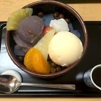 チョット自分にご褒美♪ボリュームたっぷりのクリームあんみつ。飯田橋駅すぐ甘味処、紀の善。